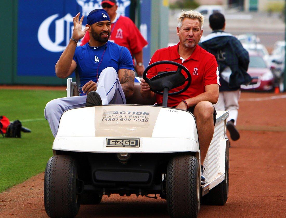 Bubba Harkins on a golf cart
