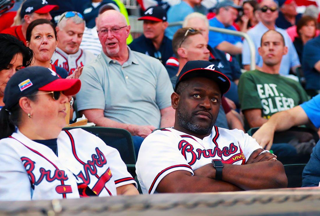 Dejected Braves fan